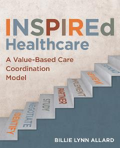 Book cover for INSPIREd Healthcare. Illustration of steps going up with the words from bottom to top: Identify, Negotiate, Study, Partner, Implement, Review, and Expand.