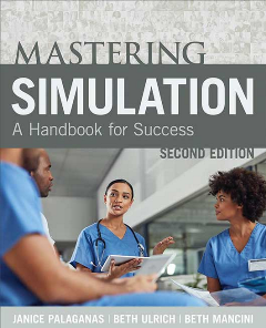 Mastering Simulation: A Handbook for Success cover with four nurses discussing a chart.