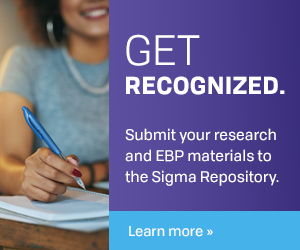 Graphic says: Get recognized. Submit your research and EBP materials to the Sigma Repository.